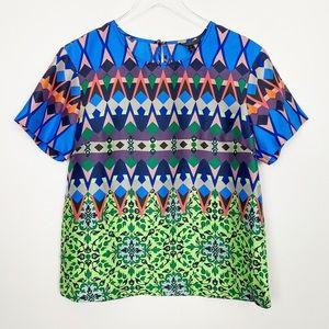 J CREW Gemstone Floral Silk T Shirt 8 Graphic Fun